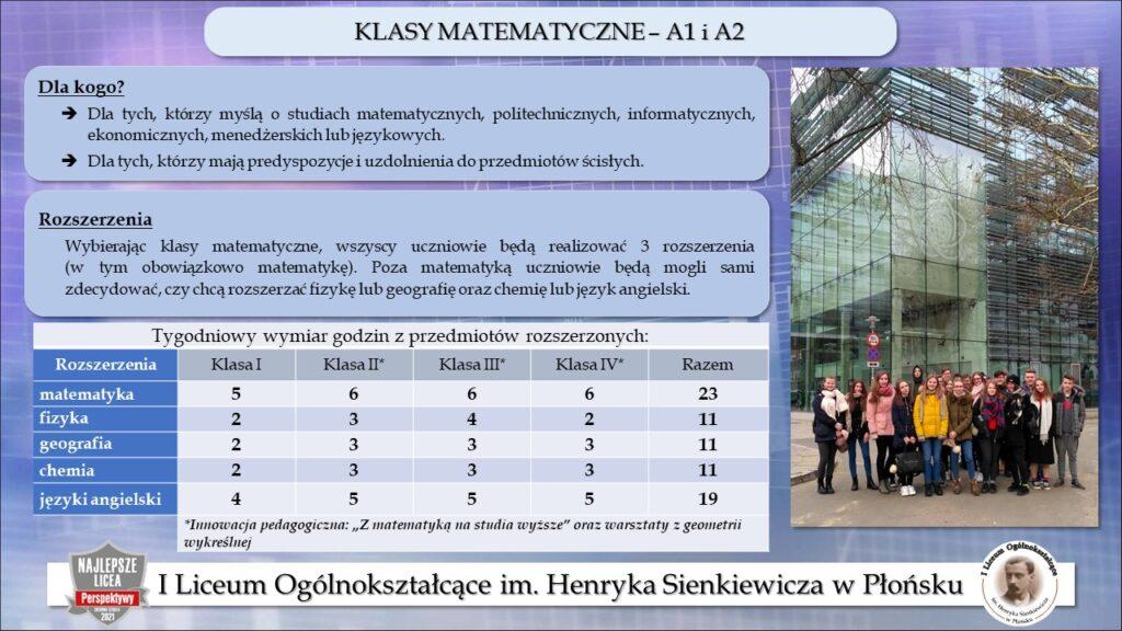 Klasy matematyczne A1 i A2